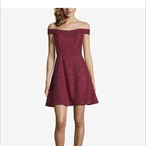 Betsy Adam Burgundy Glitter Dress